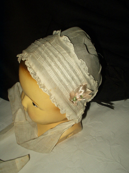 Vintage 1920 White Organdy Baby Child Bonnet Tucks Lace Pink Ribbon Bows