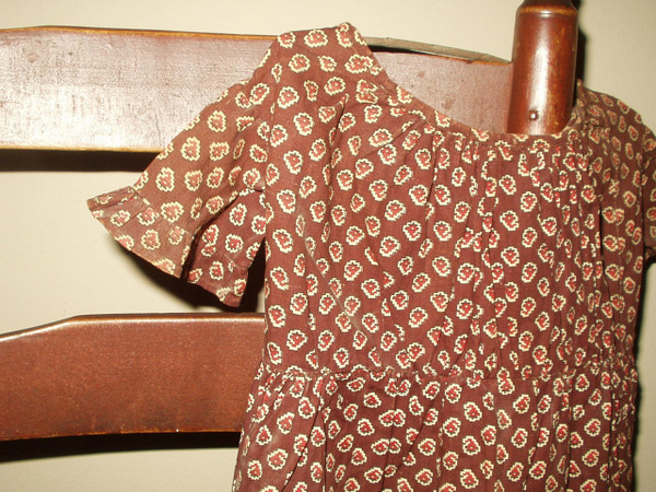 Civil War 1880 Victorian Brown Calico Baby Toddler Child Dress Handstitched