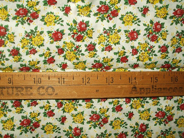 Vintage 1950s Unused Red And Yellow Small Print Cotton Dress Quilting Fabric