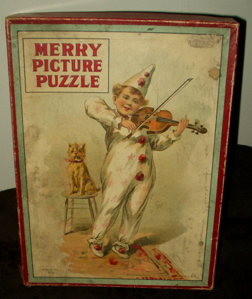 Milton Bradley Victorian Children Toy Picture Puzzle In Box #4610 Clown Dog