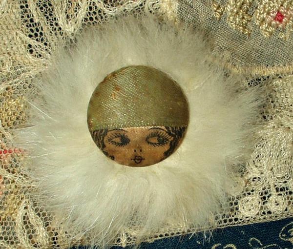 Vintage 1920s Ribbon Flapper Face Button Fur Trimmed Garter Embellishment
