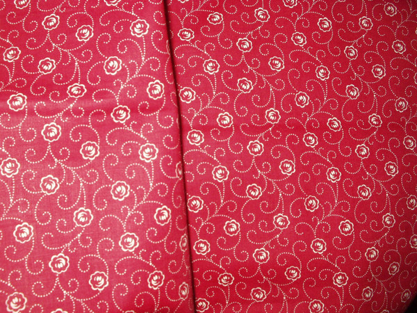 Vintage Maroon White Print Calico Fabric Unused Edwardian 1920s
