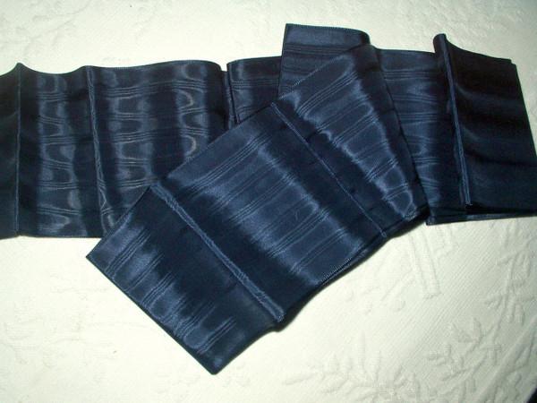 Vintage 1920s Blue Silk Rayon Moire Wide Ribbon Hat Millinery Dress Trim