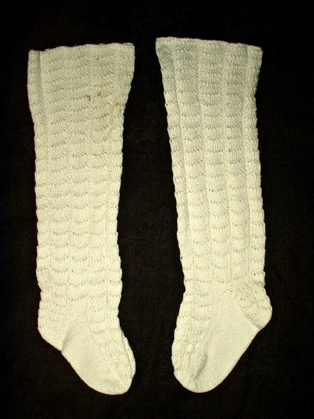 Victorian Child Hand Knitted Stockings 19th Century Hosiery White Cotton
