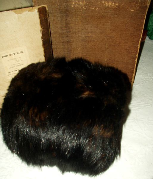 Victorian 1870 Black Animal Fur Muff Hand Warmer Original Box