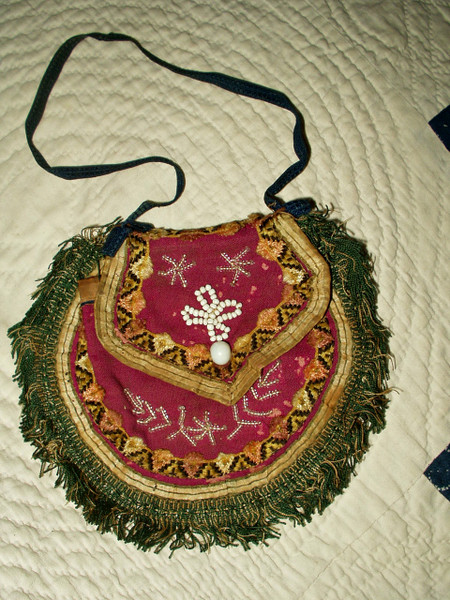 Hand Stitched Civil War Purse Victorian 1860 Bead Fringe Cloth Pouch