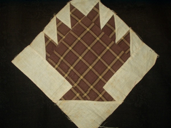 Hand Stitched 19th Century Brown Fabric Bear Claw Quilt Block