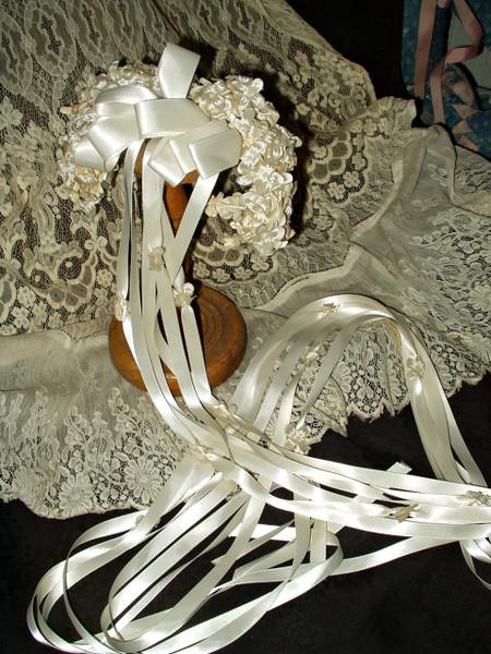 Bridal Wedding Flowers Headpiece Ribbon Streamers Vintage 1940