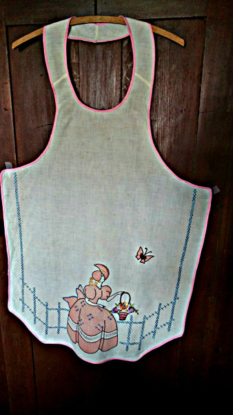 Vintage Depression Muslin Bib Apron Southern Belle Tinted Stencil Embroidery