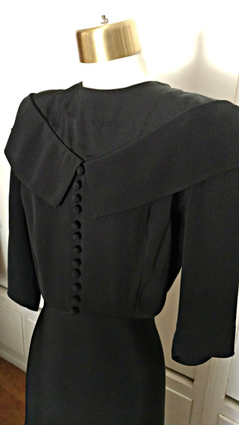 Vintage Black Rayon Crepe Dress 1930's Adorable Sassy Bow Back  Rae Mar Jrs