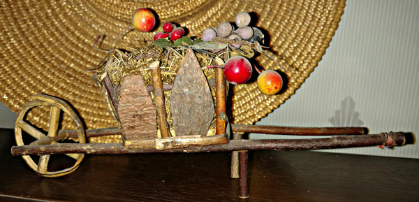Vintage 1920 German Twig Putz Wheelbarrow Easter Holiday