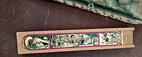 Children Wooden School Pencil Box Christmas Graphics 1930s Vintage
