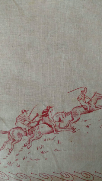 Early 1900s Handkerchief Horse Jockey Victorian Edwardian Cotton Hankie