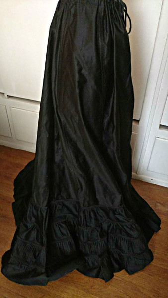 Black Sateen Victorian Petticoat Double Ruffle Vintage Gothic Steampunk