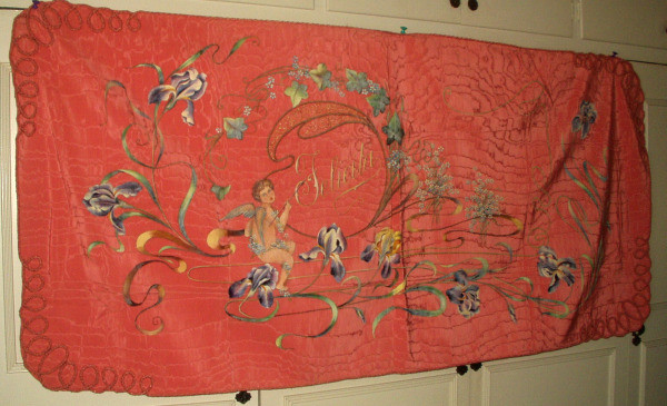 Early 20th Century Cherub Art Noveau Handpainted Hanging Wall Tapestry