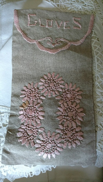 Victorian Edwardian Glove Case Natural Linen Pink Silk Embroidery