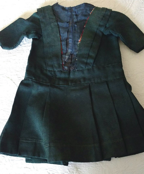 Victorian 1890s Doll Dress Green Wool Taffeta Inset AS IS