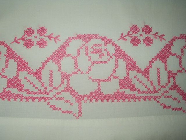 Vintage 1940 1950 Rose Cross Stitched Embroidery Single Pillowcase