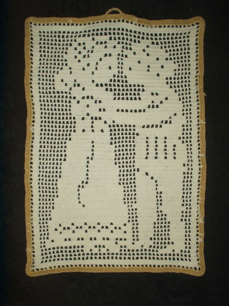 Vintage 1940's Filet Crochet Boy Girl Sampler Wall Hanging