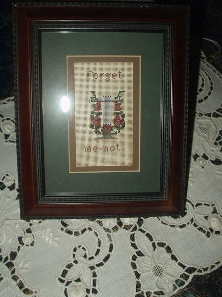 Victorian Framed Embroidered Berlin Work Forget Me Not Sampler Bookmark