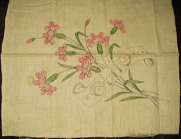 Early 1900 Stamped and Tinted Embroidery Pillow Top With Carnations