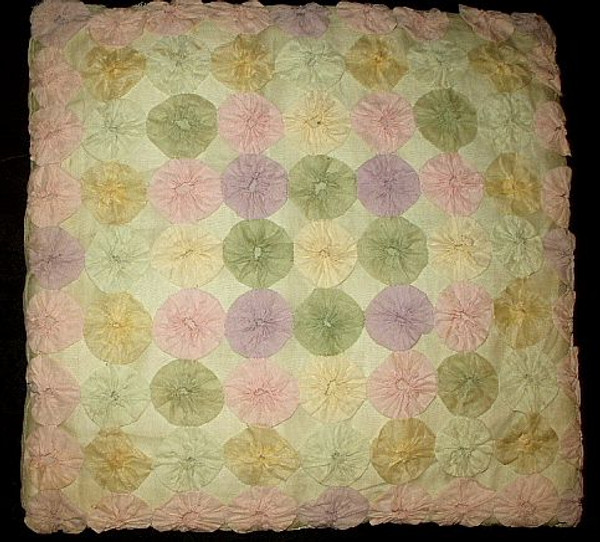 Vintage 1930 1940 Pink Green Blue Lavender Organdy Yo Yo Hand Made Pillow