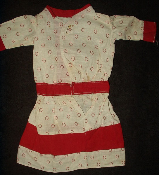 Early 1900s Edwardian Red Dot Calico Doll Dress With Red Trimming