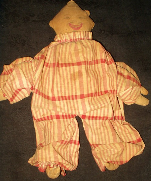 Old Original Victorian Country Primitive Cloth Clown Rag Doll
