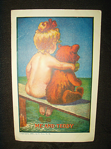 Antique 1907 Ullman Child And Teddy Bear Vintage Postcard