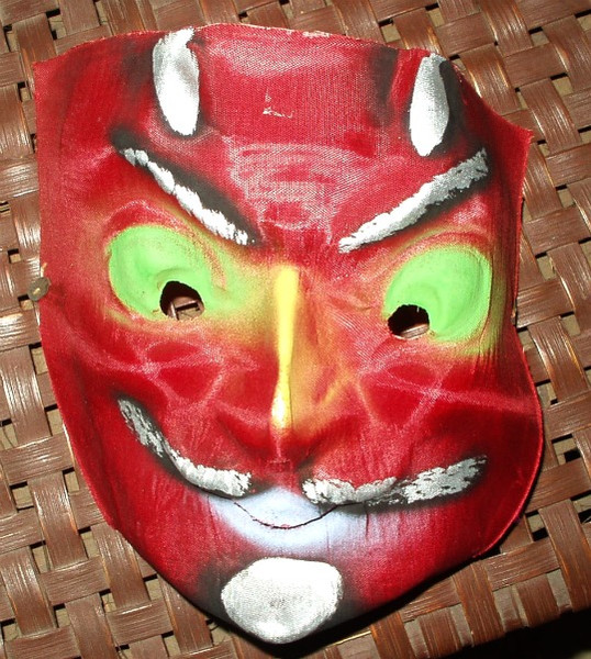 1940 Vintage Gauze Halloween Devil Face Mask Mint