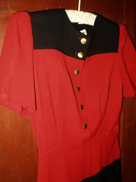 Vintage 1940's  War Years Junior Miss Girl Gabardine Dress