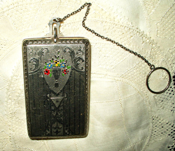 1900  Art Nouveau Finger Ring Enamel Floral  Dance Compact Purse