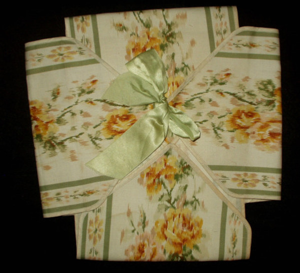 Vintage 1920's Napkin Holder Case Roses Printed Cloth