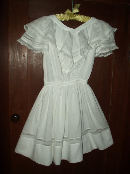 Victorian 1900 Batiste Children Dress Ruffle Collar Lace