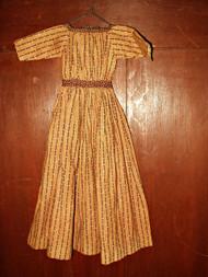 Antique Mid 19th Century Civil War Primitive Brown Calico Doll Dress