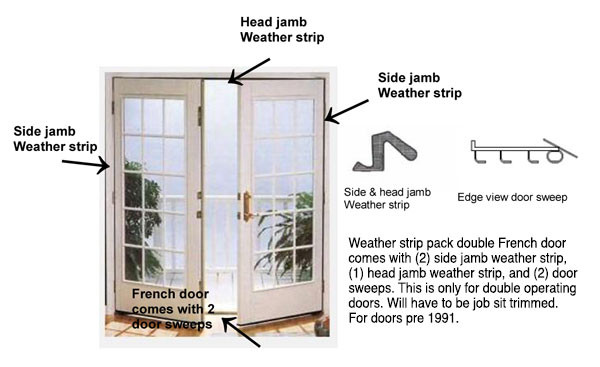 Double Swing French Door Weather Strip Kit Pre October 1991