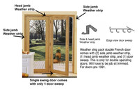 Double swing french door weather strip kit pre october 1991 for Single swing french doors