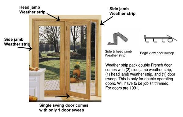 Single swing door weather strip kit pre october 1991 for Single swing french doors