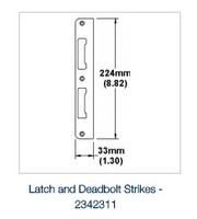"Hoppe 2342311 SP LD120 -  Stainless Strike Latch and Deadbolt - full flat - Strike Latch and Deadbolt - full flat (no lip) F69 stainless steel brushed 224x33 mm 1.75"" (44 mm) 12 mm"