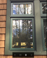Lincoln fixed custom awning sash. actual sash size 23 1/2w x 15 1/4h. hartfor greeen cladd ,low-e 272 glass, SDL 3wide x 1 high with mill finish grille in air space qt#2880