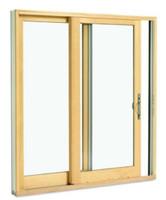 Park-Vue FP6/6 x 6/11 clad sliding patio door with bronze clad exterior, low-e 270 glass, antique brass handle,  and screen