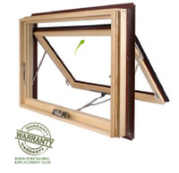 Lincoln Prime wood exterior awning replacement sash custom size 46 5/8 wide x 26 5/8 high (actual sash) / low E 272 glass