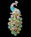 1 piece Color AB Rhinestone Peacock Bling Bling Piece -- by lovekitty