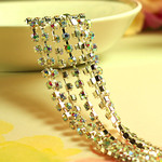 Silver Tone AB Clear ---- Single Row Glass Rhinestone Chain Trim SS12 (Length: 50 cm) ---- by lovekittybling