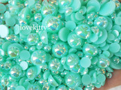 600 pieces AB Teal Mixed Sizes Flatback Pearl Cabochons -- by lovekitty
