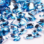 30 pcs Light Blue Flat Back Mixed Sizes Gems-- lovekittybling