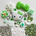DIY 3D Pearled Hello Kitty Kawaii Cabochons Deco Kit / Set 378 -- lovekitty