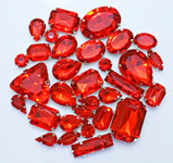 30 pcs --- Sew-On Gems -- Red -- Mixed Shapes Gems ( has thread holes ) ---- love kitty bling