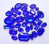 30 pcs --- Sew-On Gems -- Navy Blue -- Mixed Shapes Gems ( has thread holes ) ---- love kitty bling