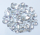 30 pcs --- Sew-On Gems -- Clear -- Mixed Shapes Gems ( has thread holes ) ---- love kitty bling